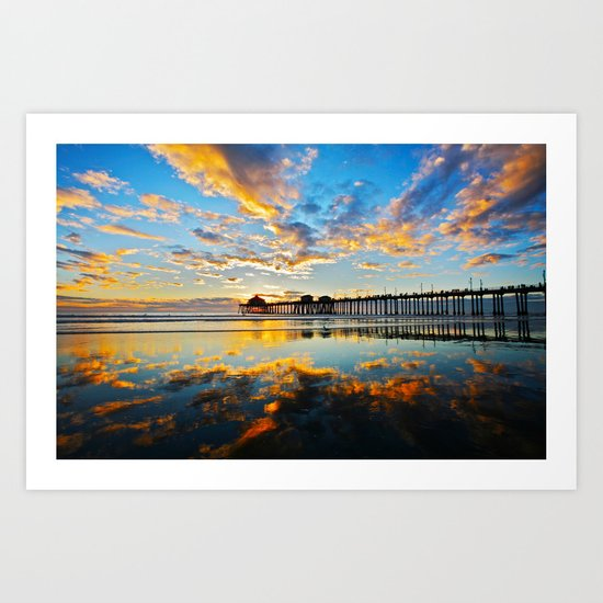 Huntington Beach Pier Sunset ~ Huntington Beach Pier CA  Art Print