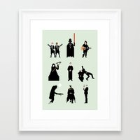 men Framed Art Prints featuring Men in Black by Eric Fan
