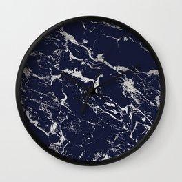 Modern navy blue silver marble pattern Wall Clock