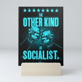 """Vintage """"The Other Kind of Socialist"""" Alcoholic Lithograph Advertisement in Blue Mini Art Print"""