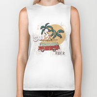 surfing Biker Tanks featuring Surfing by Julia