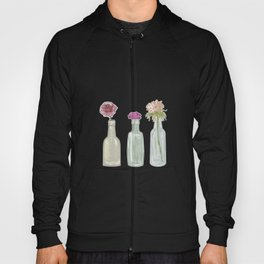 Flowers in Glass Bottles . Pastel Floralprint Botanica Poster Prints Hoody