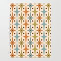 Mid Century Modern Abstract Star Pattern 441 Orange Brown Blue Olive Green by tonymagner