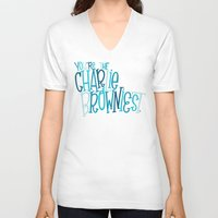 charlie brown V-neck T-shirts featuring Charlie Browniest by Chelsea Herrick