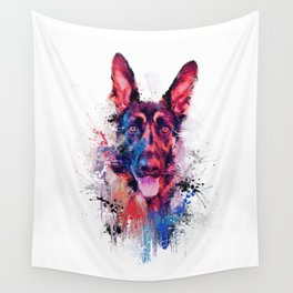 Drippy Jazzy German Shepherd Colorful Dog Art by Jai Johnson Wall Tapestry