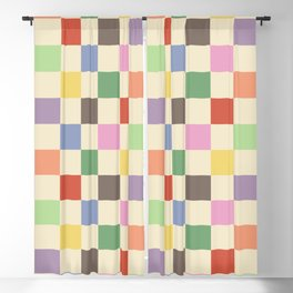 Colorful Checkered Pattern Blackout Curtain
