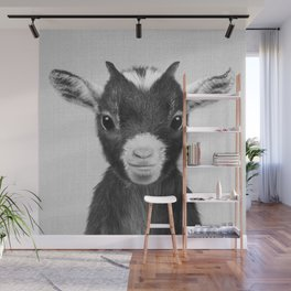 Baby Goat - Black & White Wall Mural