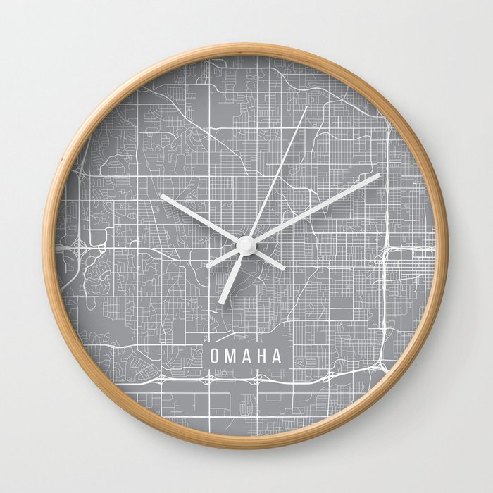 Omaha Map Nebraska Usa Pewter Wall Clock By Mainstreetmapscolor