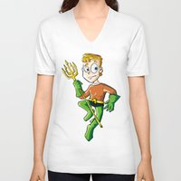 aquaman V-neck T-shirts featuring Aquaman! by neicosta