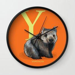 Y is for Yaminon: Under Appreciated Animals™ ABC nursery decor bright orange unusual animals Wall Clock