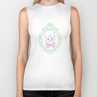 kitty Biker Tanks featuring Kitty by Laura Francis Design