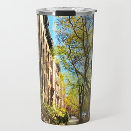 Cobble Hill Brooklyn New York in the Fall, Brownstones Travel Mug