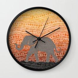 Elephant Pointillism Wall Clock