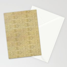 Golden Celtic Pattern on canvas texture Stationery Cards