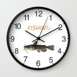 Catfish Fishing Wall Clock