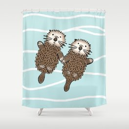 Otters in Love Shower Curtain