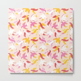 Cute Abstract Birds Pink Red Yellow Metal Print