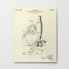 Microscope and Counting Chamber Therefor-1948 Metal Print