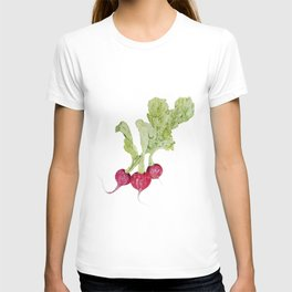 pencil drawing radish vegetable T-shirt