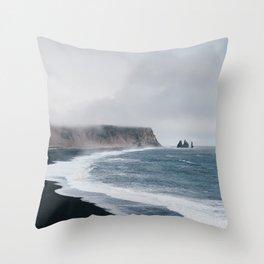 Vik Iceland Black Sand Beach Landscape Wanderlust Throw Pillow