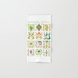 12 Days of Christmas Folk Art Style Hand & Bath Towel