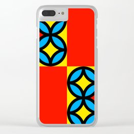 Colored Circles Red Squares Clear iPhone Case