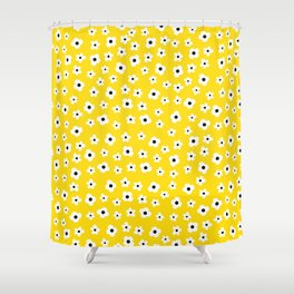 White Yellow Spring Flower Pattern Shower Curtain