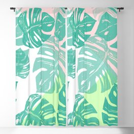 Linocut Monstera Tricolori Blackout Curtain