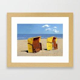 Two yellow beach cabanas Framed Art Print