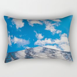 Cloud reflection in the Louvre Pyramid Rectangular Pillow