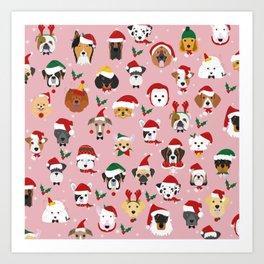 Christmas Dog Pattern Illustration Art Print