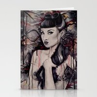 pinup Stationery Cards featuring pinup by Andreea Red