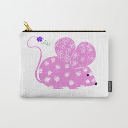 Miss Mousy Pinkie with Purple Petunia Carry-All Pouch