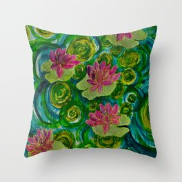 Green Lily Pads Throw Pillow