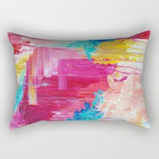 ELATED - Beautiful Bright Colorful Modern Abstract Painting Wild Rainbow Pastel Pink Color Rectangular Pillow