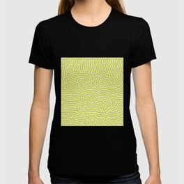 Chartreuse maze pattern T-shirt