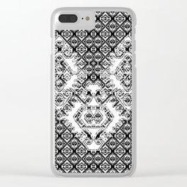 Black White Aztec 2 Clear iPhone Case