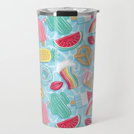 Epic pool floats top view // blue background Travel Mug