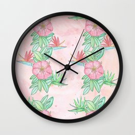 Tropical flowers and leaves watercolor Wall Clock