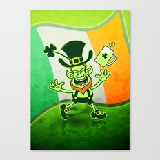 Leprechaun Full of Joy Celebrating St Patrick's Day Canvas Print