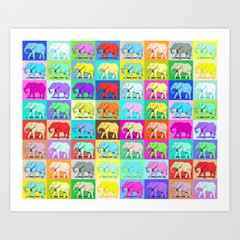 Colourful Elephants Art Print