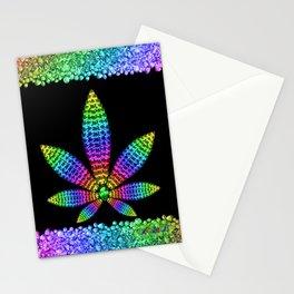 Rainbow Gems Cannabis Leaf Stationery Cards