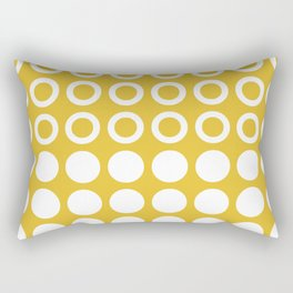 Mid Century Modern Circles And Dots Mustard Yellow Rectangular Pillow