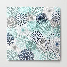 Floral Aqua and Navy Metal Print