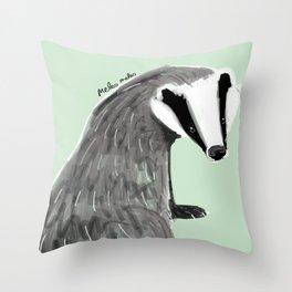 Adorable Badger ( Meles meles ) Throw Pillow