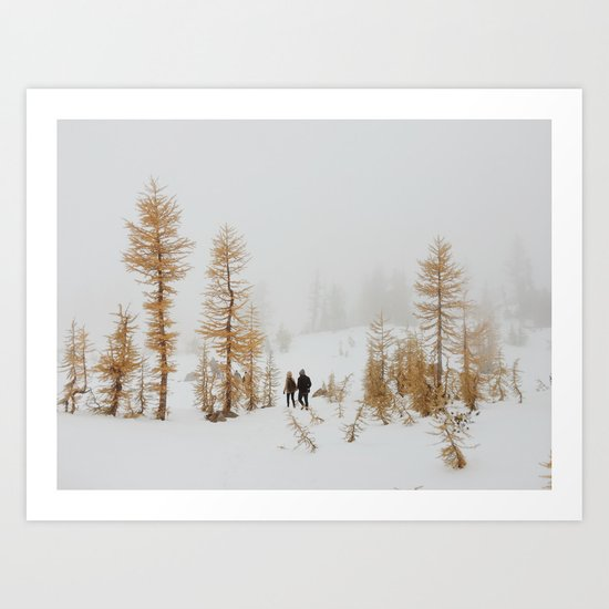 Walking in Larch Land Art Print