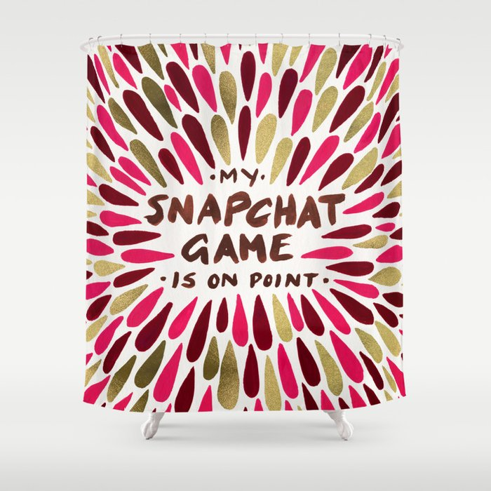 Snapchat Red Gold Shower Curtain By Catcoq