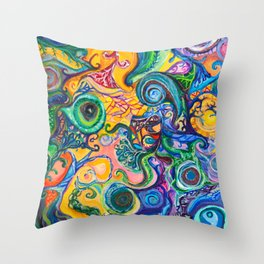 Colorful Brain Clutter Throw Pillow