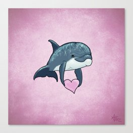 Love Ya! ~ Baby Dolphin by Amber Marine ~ Pink ~ (Copyright 2014) Canvas Print