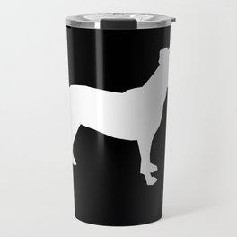 Pitbull silhouette black and white minimal modern dog breed art pillow square Travel Mug